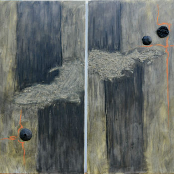 """Abstract 65"", diptych, mixed media and polyester on canvas, 143x120cm."