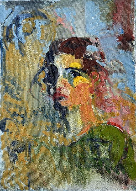 """""""Self-portrait"""", oil on canvas, 50x70cm."""