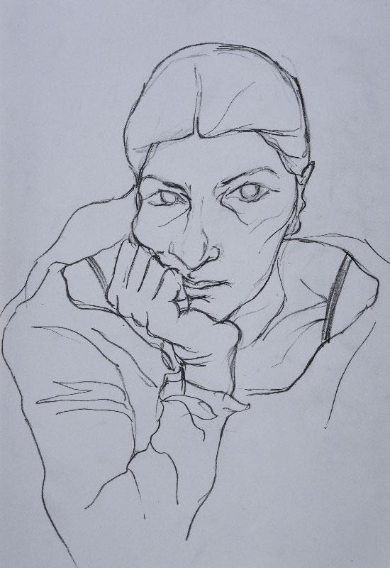 """""""Self-portrait sketch"""", pencil on paper, 21x30cm."""