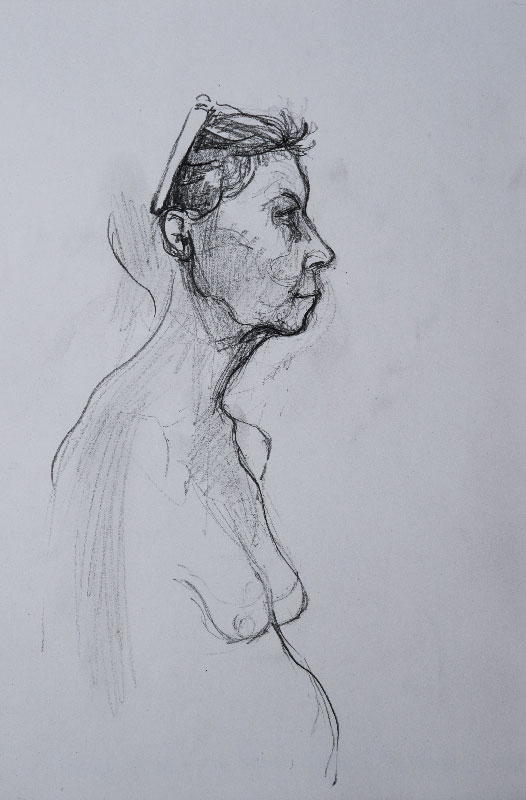 """""""Old woman sketch"""", pencil on paper, 21x30cm."""