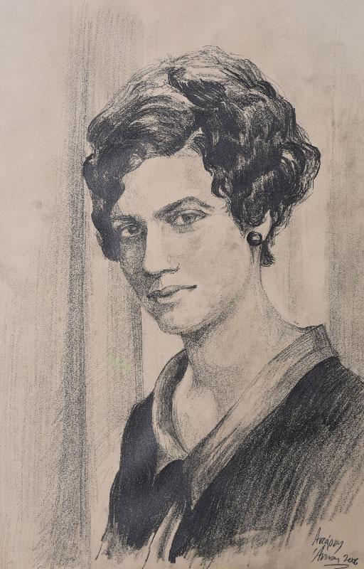 """""""Portrait sketch"""", pencil on paper, 30x45cm."""