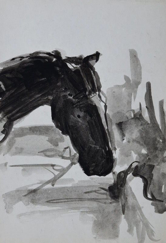 """""""Study of a horse sketch"""", ink on paper, 21x30cm."""