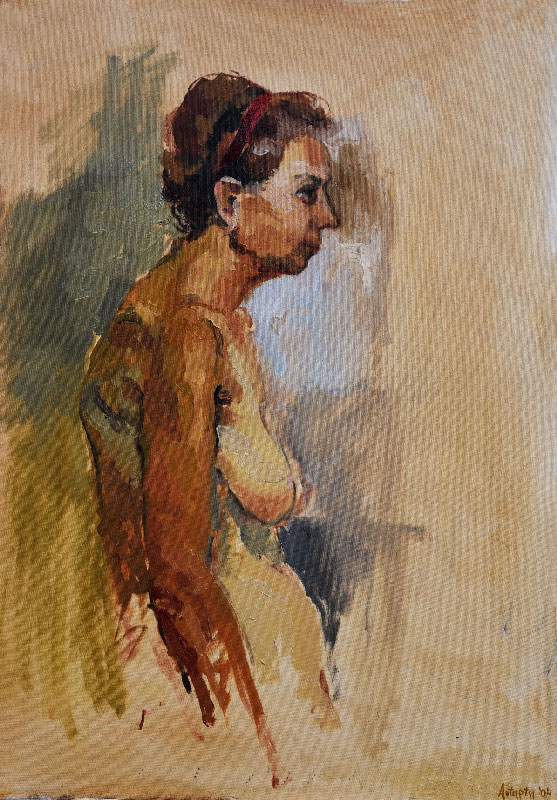 """""""Old woman"""", oil on canvas, 70x100cm."""